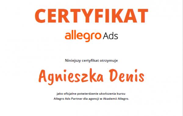 Certyfikat Allegro Ads Agnieszka Denis