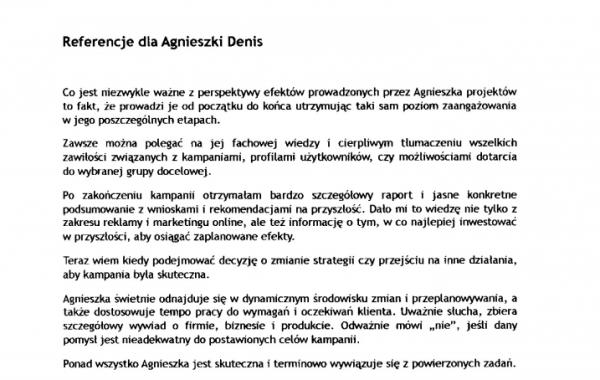 Referencje Angelika Chimowska