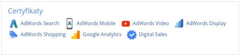Certyfikaty Google - Agnieszka Denis