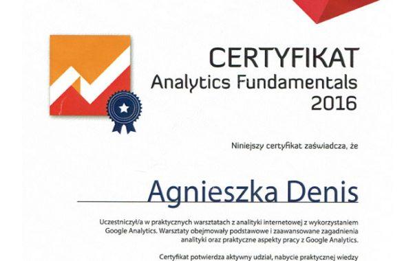 Certyfikat Analytics