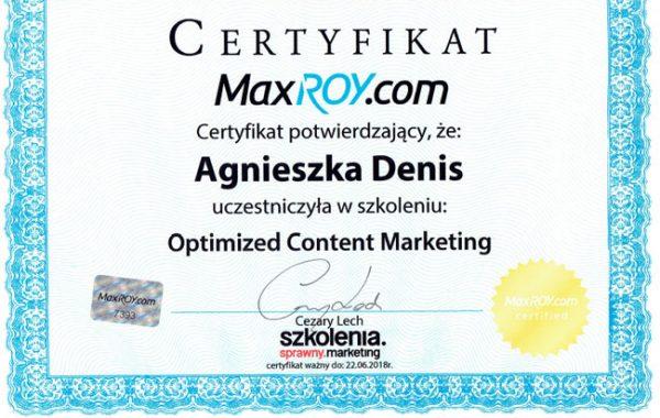 Certyfikat Optimized CM
