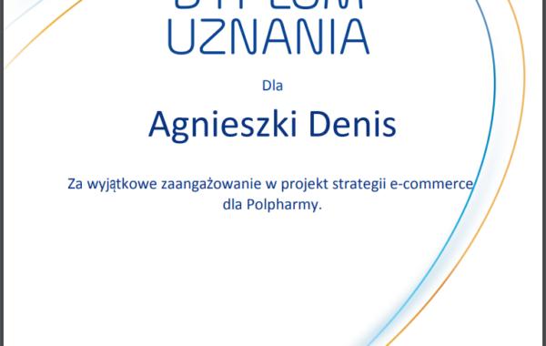 Agnieszka Denis Dyplom e-commerce Polpharma