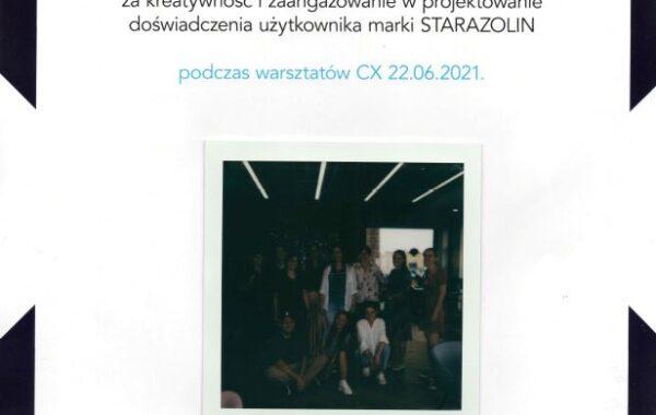Agnieszka Denis Dyplom warsztaty Mediacom Customer Experience dla Starazolin