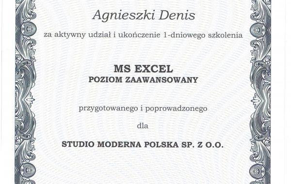 Certyfikat ukończenia szkolenia Excel zaawansowany 2019