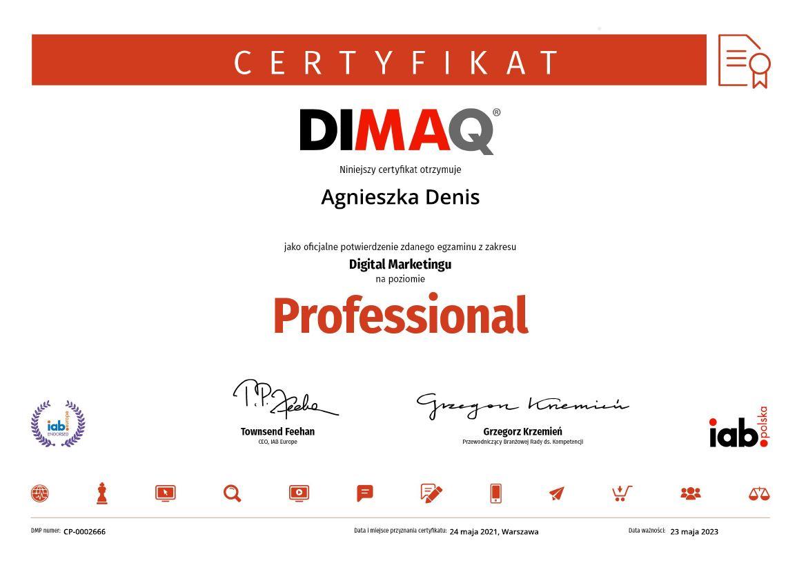 DIMAQ Professional Agnieszka Denis Certyfikat 2021
